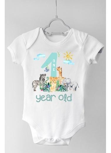 Happy Onesie Co 1 Yaş Safari Çıtçıtlı Bebek Body Beyaz